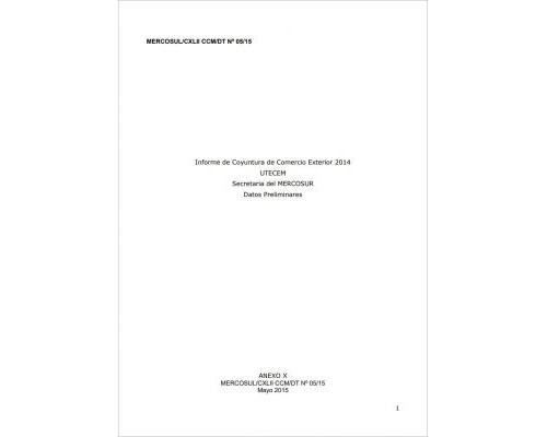 Informe Técnico de Comercio Exterior del MERCOSUR 2014